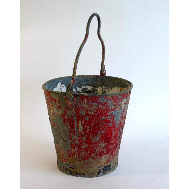 Vintage Red Fire Brigade Bucket For Sale - Image 4 of 6