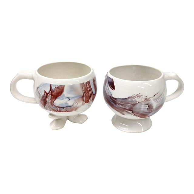 Unique Vintage His and Her Marble Painted Cup Set - a Pair - Image 1 of 7