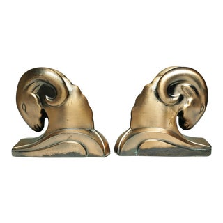 Art Deco Bronze Plated Ram Bookends C. 1930s