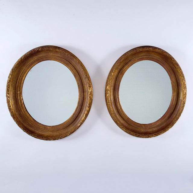 Yellow Near Pair 19th Century Carved Gilt Wood and Gesso Mirrors For Sale - Image 8 of 8
