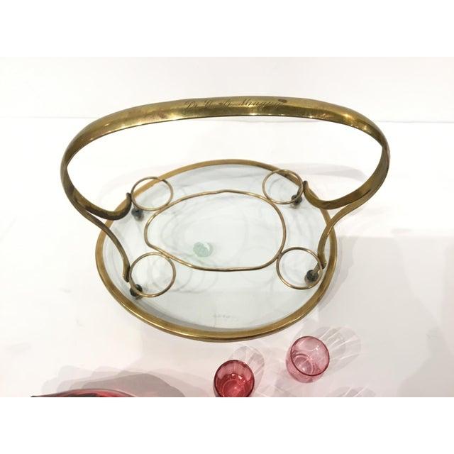 Vintage Art Deco Cranberry Art Glass Duck Decanter Set For Sale - Image 4 of 5
