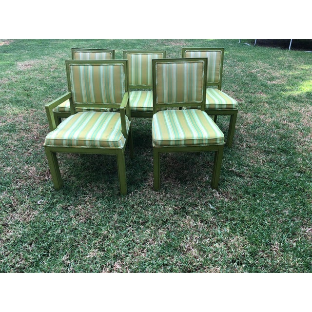 5 vintage chairs in great condition made by Louis Sherman in 1975 .These are green with some yellow stripes .Great...