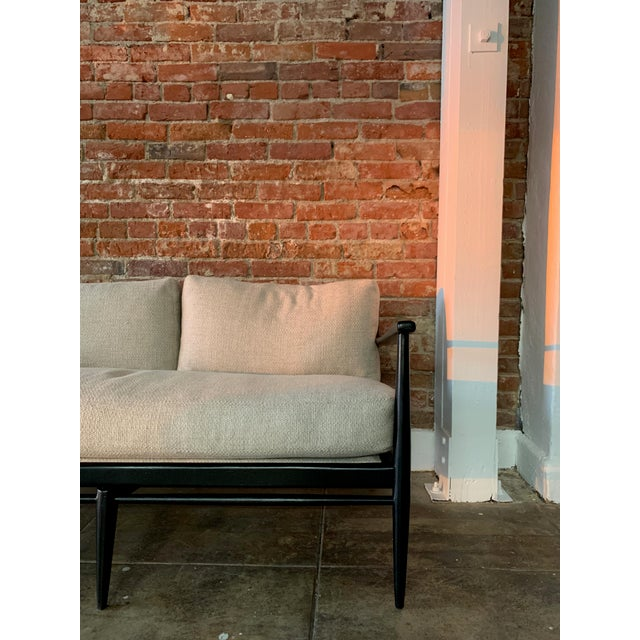 Contemporary Danish MCM - Black Wood and Woven Cane Sofa in Belgian LineN For Sale - Image 3 of 7