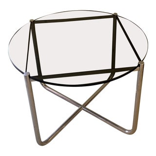 Mies Van Der Rohe Tubular Steel Round Side Table For Sale