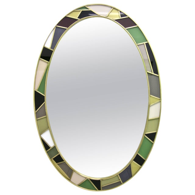 1970s Italian Modern Oval Mirror in Green Grey Blue Yellow Black White and Brass For Sale - Image 10 of 10