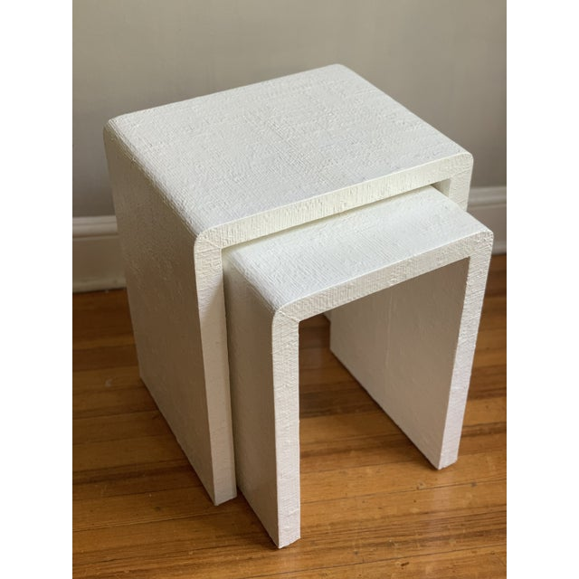 Grasscloth Raffia Nesting Tables - 2 Pieces For Sale - Image 12 of 12