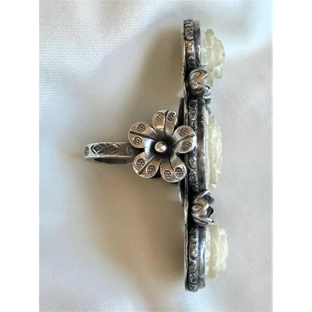 2010s Sterling and Carved Bone Floral Motif Oversized Ring For Sale - Image 5 of 8
