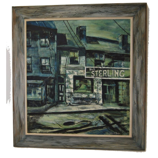 Mid-Century Modern 1960s Blue-Tone Oil Painting For Sale - Image 3 of 9