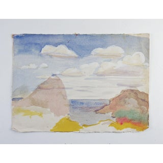 Minimalist Coastal Seascape Watercolor Painting Preview