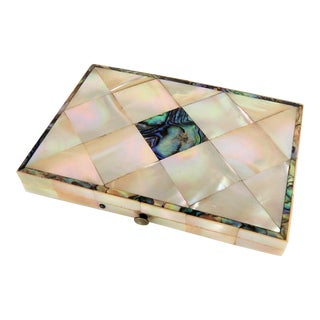Antique Mother of Pearl Calling Card Case For Sale