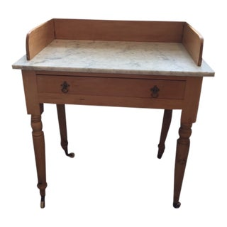 20th Century English Traditional Washed Pine Marble Top Washstand For Sale