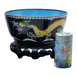 Chinese Cloisonne Bowl & Match Safe For Sale