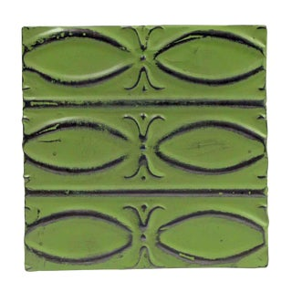 Antique Lime Green Fish Pattern Tin Panel For Sale