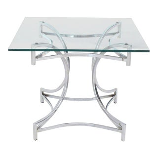 Mid-Century Modern Square Glass Top Figural Chrome Base Side/Center Table For Sale