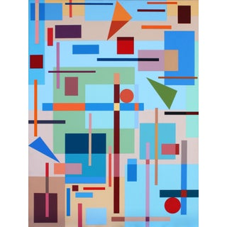 """""""Composition With Triangles No. 1"""" Contemporary Geometric Hard Edge Acrylic Painting by Sassoon Kosian For Sale"""