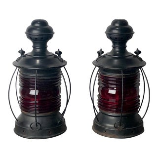 1900 Red Glass Ship's Lanterns - a Pair For Sale