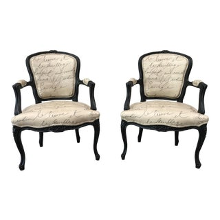 19th Century Louis XV Style Tan Upholstered Arm Chairs - a Pair For Sale