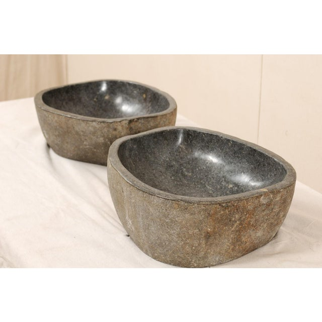 Pair of Carved and Polished Grey River Rock Sink Basins For Sale - Image 9 of 12