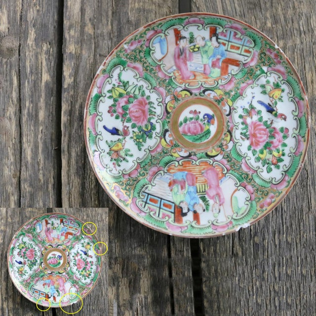 Antique Chinese Qing Rose Medallion Porcelain 6-Inch Cupped Plates Set of 8 For Sale - Image 9 of 13