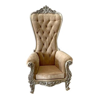 Champagne Velvet Baroque Style Tufted Throne Chair For Sale