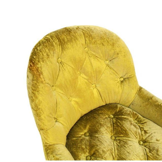Early 20th Century Pair of Gold Tufted Velvet Upholstery Vintage Barrel Back Slipper Lounge Chairs For Sale - Image 5 of 8