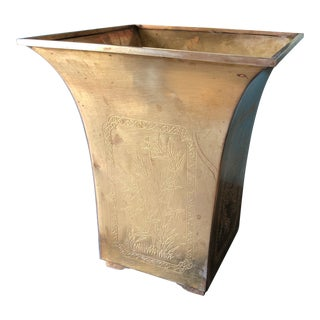 1970's Vintage Brass Chinoiserie Cherry Blossoms Wastebasket