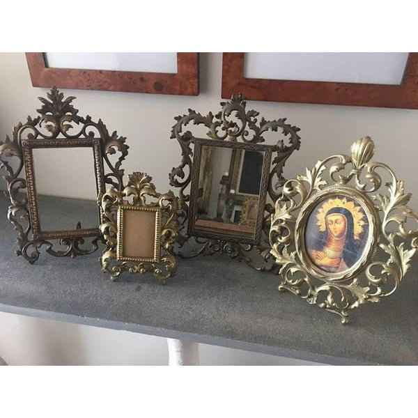Art Nouveau Vintage Roccoco Victorian Brass Frames - Set of 4 For Sale - Image 3 of 8