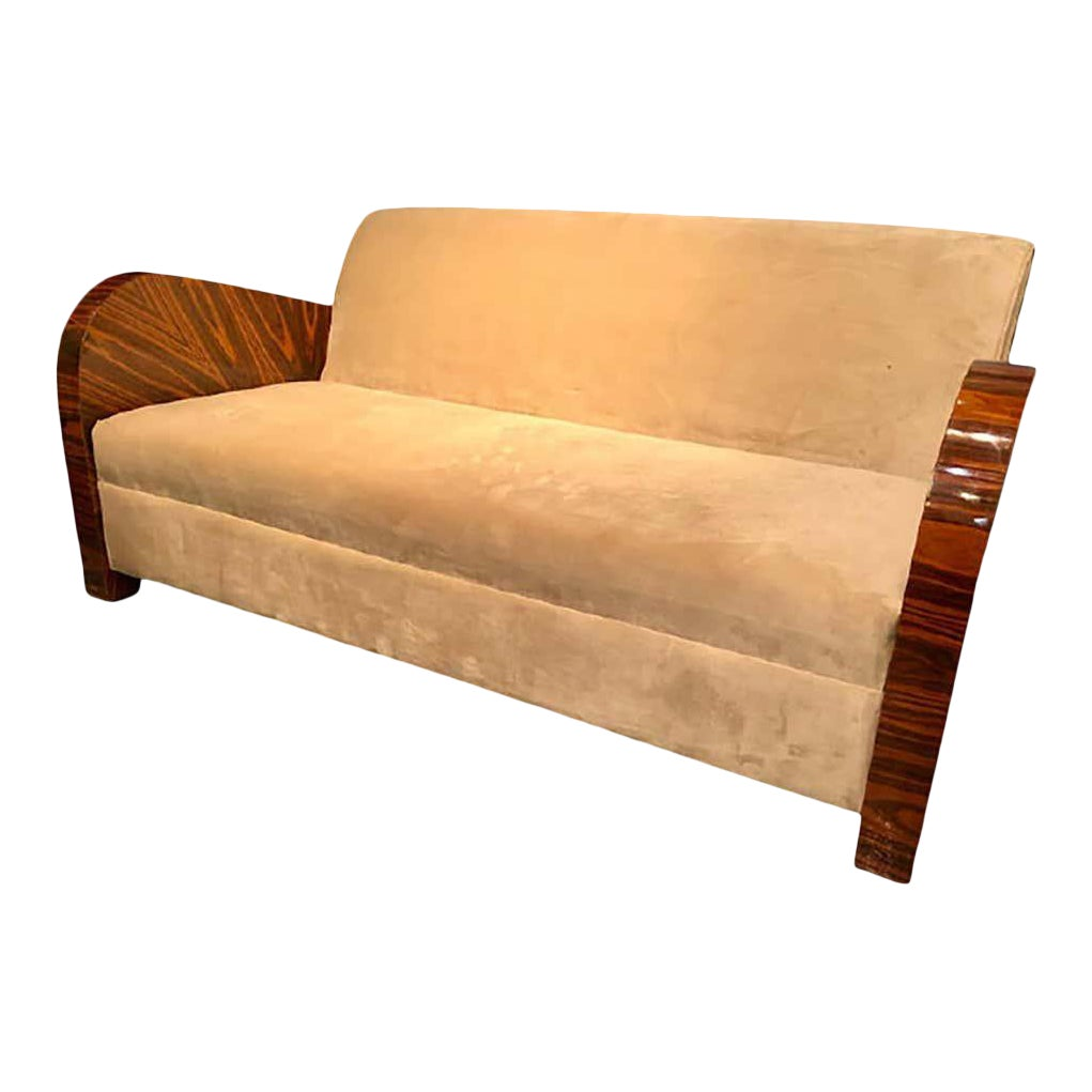 French Art Deco Style Rosewood Sofa Couch Lacquered Rosewood Velour Upholstery Chairish