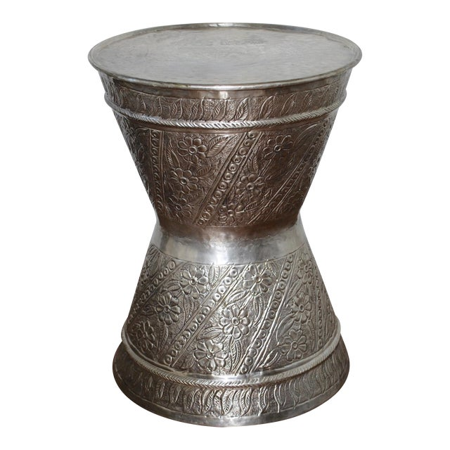 Fez Silver Metal Drum Table/Stool For Sale