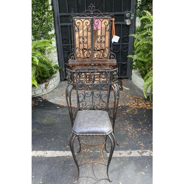 Antique Art Deco Spanish Wrought Iron Champagne Mirrored Vanity & Chair - a Pair For Sale - Image 10 of 11