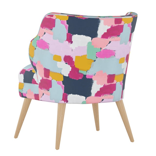 Contemporary Modern Chair in Joyful Navy Oga For Sale - Image 3 of 7