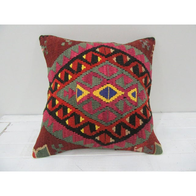 Vintage Handwoven Embroidered Turkish Kilim Pillow Cover For Sale - Image 4 of 4