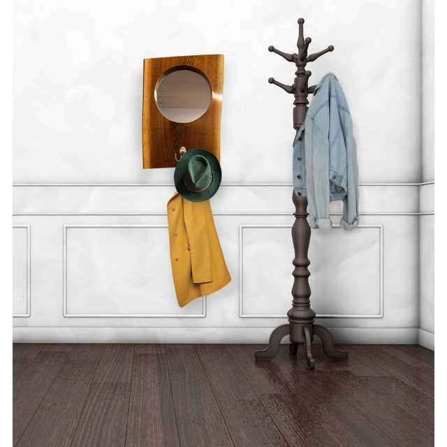 2010s Live Edge Walnut Slab Coat Hanger With Mirror For Sale - Image 5 of 8