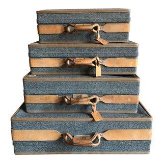 Vintage Set of Tweed Hartmann Luggage