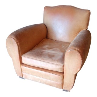Early 20th Century Art Deco English Mustache Club Chair For Sale