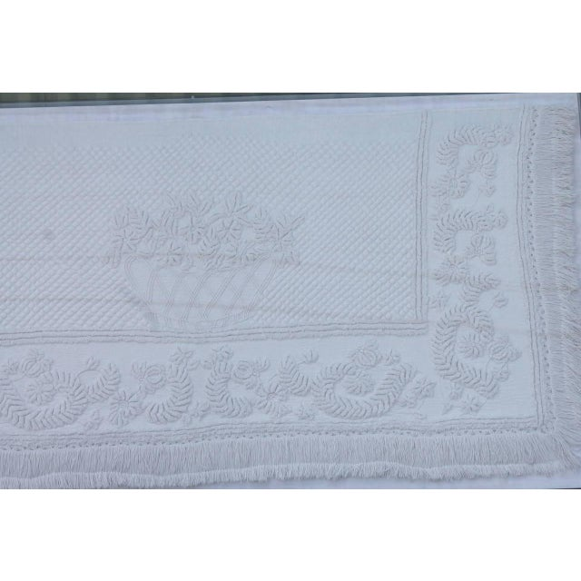 Cotton Early 19th Century Trapunto & Candlewick Fringed Sham in Plexy Frame For Sale - Image 7 of 7