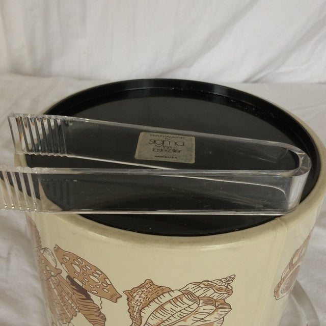 Sigma Lucite & Vinyl Seashell Ice Bucket & Tongs - 1970's For Sale - Image 10 of 13