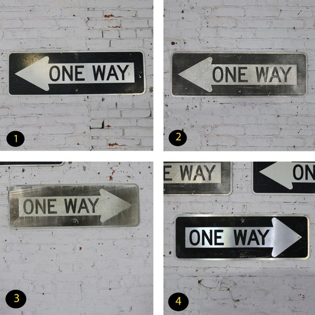 Vintage Metal One Way Arrow Signs For Sale - Image 11 of 13