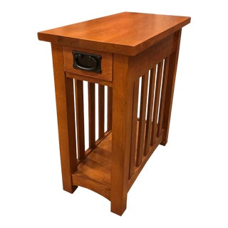 Crafters and Weavers Arts & Crafts 1 Drawer Side Table For Sale