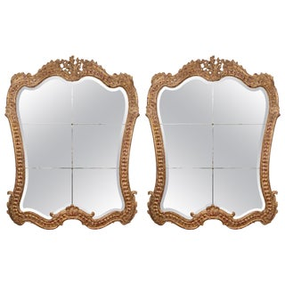 Italian Rococo Giltwood Mirrors - a Pair For Sale