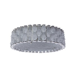 Chic Grand Kaiser Primat Ice Textured Crystal Plafoniere / Flush Mount For Sale