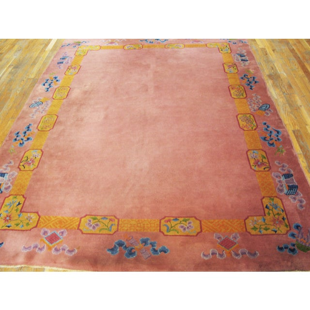 """Textile Antique Chinese Art Deco Rug 6'8"""" X 9'0"""" For Sale - Image 7 of 8"""