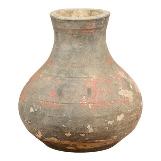 Petite Chinese Han Dynasty Hand-Painted Terracotta Jug, circa 202 BC-200 AD For Sale