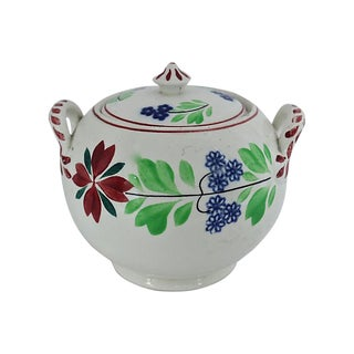 English Spongeware Sugar Bowl For Sale