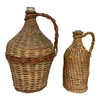 Set of 2 French Wicker Wrapped Bottles,S/2 For Sale