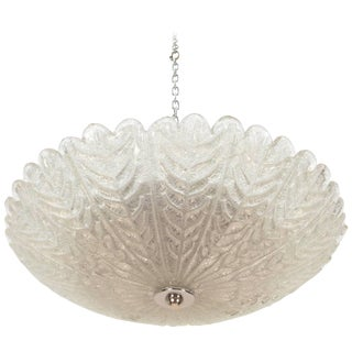 Textured Glass Flush Mount Fixture For Sale