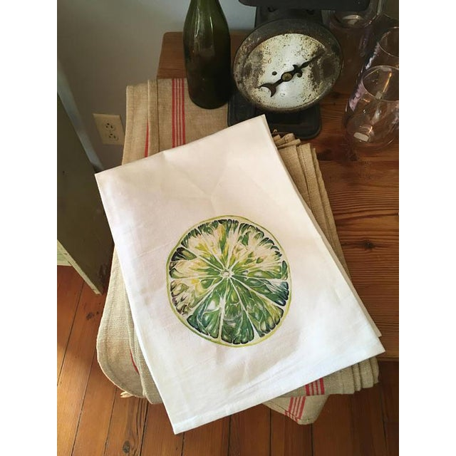 Watercolor Lime Tea Towel For Sale - Image 4 of 5