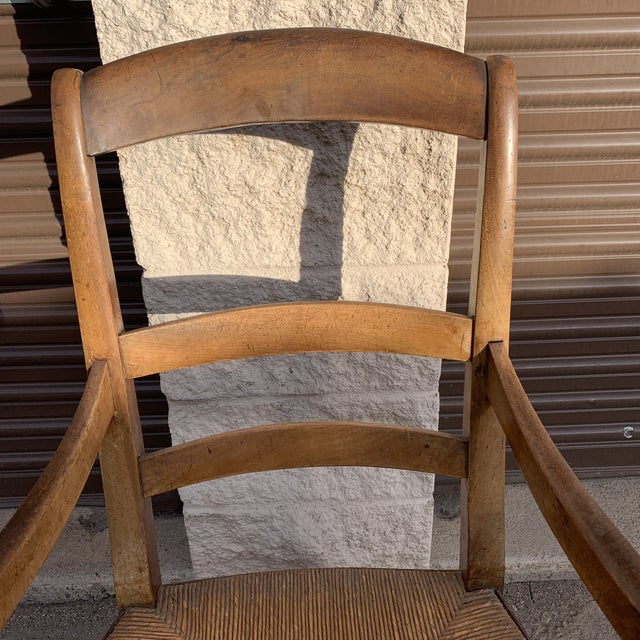 Mid 19th Century French Walnut Rush Seat Armchair For Sale In Denver - Image 6 of 13