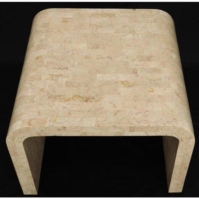 Wood Tessellated Stone Veneer C Shape Side Coffee End Table For Sale - Image 7 of 8