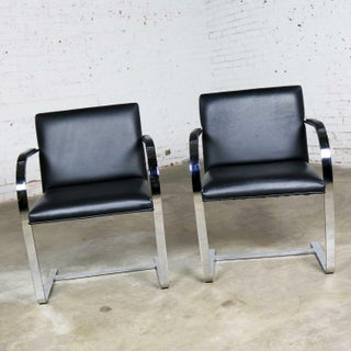 Black Leather Flat Bar Brno Chairs by Mies Van Der Rohe & Lilly Reich From Gordon Intl Preview